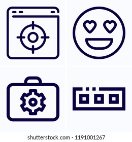 Simple set of 4 icons related to interface outline such as briefcase, toolbar, browser symbols