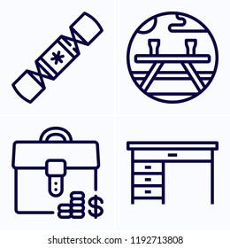 Simple set of 4 icons related to other outline such as table, briefcase, picnic symbols