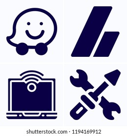 Simple set of 4 icons related to service filled such as adsense, waze, service symbols