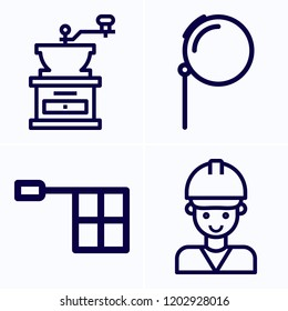 Simple set of 4 icons related to man outline such as engineer, offside, monocle symbols