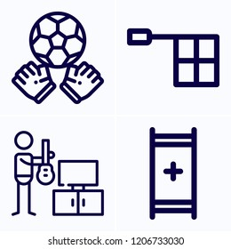 Simple set of 4 icons related to man outline such as goalie, stretcher, offside symbols