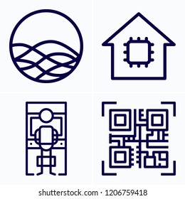 Simple set of 4 icons related to digital outline such as arcade, smart home, siri symbols