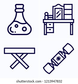 Simple set of 4 icons related to other outline such as table, poison, dressing table symbols
