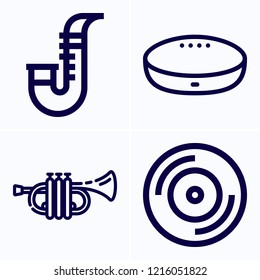 Simple set of 4 icons related to music outline such as saxophone, trumpet, vynil symbols