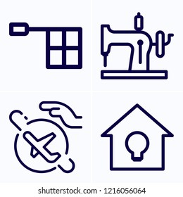 Simple set of 4 icons related to hand outline such as travel, offside, sewing machine symbols