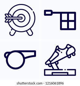 Simple set of 4 icons related to sport outline such as objective, whistle, offside symbols