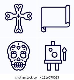 Simple set of 4 icons related to art outline such as canvas, parchment, cross symbols