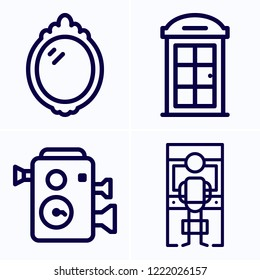 Simple set of 4 icons related to old outline such as arcade, phone booth, mirror symbols