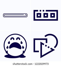 Simple set of 4 icons related to interface outline such as shapes, delete, toolbar symbols