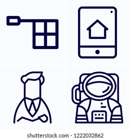 Simple set of 4 icons related to man outline such as head, offside, smartphone symbols