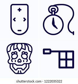 Simple set of 4 icons related to hand outline such as skull, offside, pocket watch symbols