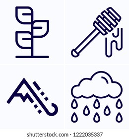 Simple set of 4 icons related to nature outline such as plant, rainy, avalanche symbols