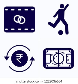 Simple set of 4 icons related to art filled such as rupee, football game top view, football player attempting to kick ball symbols