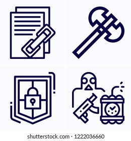 Simple set of 4 icons related to security outline such as terrorist, axe, shield symbols