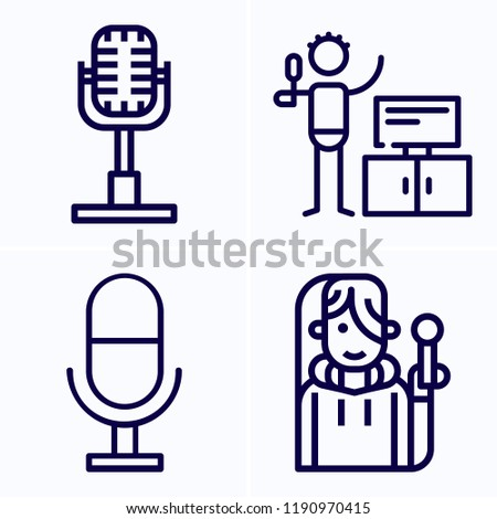 simple set of 4 icons related to microphone outline such as microphone,  singer symbols