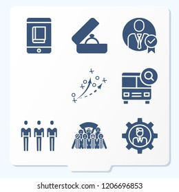 Simple set of 8 icons such as businessman, school bus, smartphone, student, customers, football sketch for practice, football fans group symbols