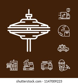 Simple set of 8 outline ax icons such as cymbals,transport,taxi,planet,seal,bill