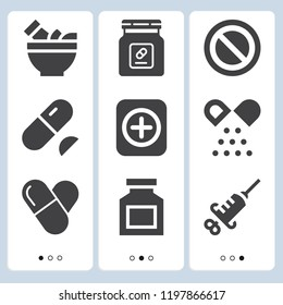 Simple set of  9 filled icons on following themes pills, medicine, drug, mortar web icons with high quality