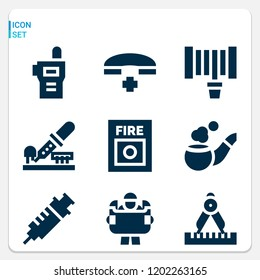 Simple set of  9 filled icons on following themes walkie talkie, pipe, syringe, telephone, fire button, hosepipe, compass, engineering web icons with high quality