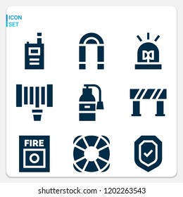 Simple set of  9 filled icons on following themes security, lifebuoy, fire button, fire extinguisher, hosepipe, flasher, barrier, walkie talkie web icons with high quality