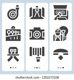 Simple set of  9 filled icons on following themes hose, telephone, hosepipe, spanner, diode, camera, compass, laptop web icons with high quality