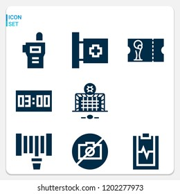 Simple set of  9 filled icons on following themes digital clock, walkie talkie, medical report, medical, hosepipe, whistle, goal, football ticket web icons with high quality