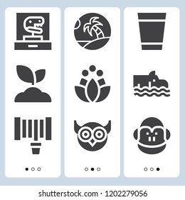 Simple set of  9 filled icons on following themes hippo, monkey, palm tree, sprout, lotus, owl, water glass, hosepipe web icons with high quality