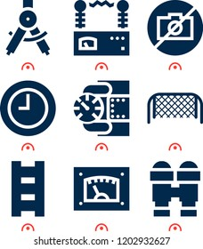 Simple set of  9 filled icons on following themes time, binoculars, ladder, soccer goal net, voltmeter, compass, gauge web icons with high quality
