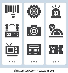 Simple set of  9 filled icons on following themes tv, camera, hosepipe, flasher, football ticket, gear, helmet, voltmeter web icons with high quality