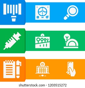 Simple set of  9 filled icons on following themes notebook, loupe, syringe, hosepipe, goal, yellow card, spanner, helmet web icons with high quality