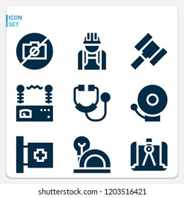 Simple set of  9 filled icons on following themes medical, fire alarm, stethoscope, helmet, engineer, hammer, compass, voltmeter web icons with high quality