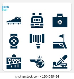 Simple set of  9 filled icons on following themes bullet proof vest, first aid kit, hosepipe, whistle, football field corner, football boots web icons with high quality
