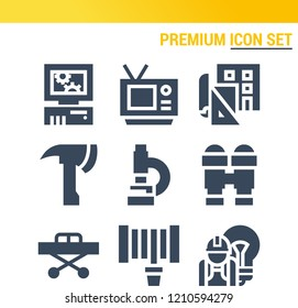 Simple set of  9 filled icons on following themes tv, microscope, binoculars, stretcher, axe, hosepipe, personal computer, blueprint web icons with high quality