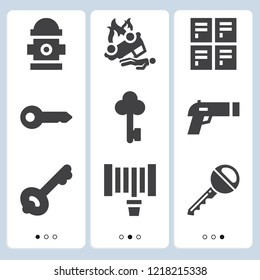 Simple set of  9 filled icons on following themes accident, key, fire hydrant, gun, hosepipe web icons with high quality