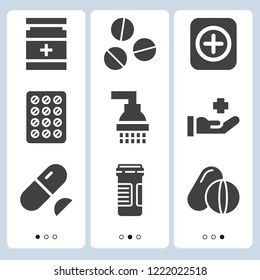 Simple set of  9 filled icons on following themes medicine, drug, pills, shower web icons with high quality