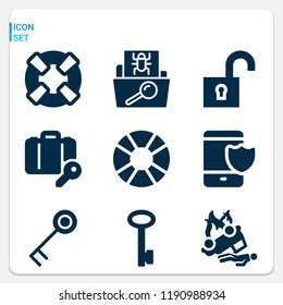 Simple set of  9 filled vector icons on following themes unlock, accident, key, luggage, folder, lifebuoy, float web icons with high quality