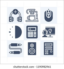 Simple set of 9 icons related to technology filled such as 30 minutes, calculator, coffee maker, audio jack, headphones, support, speaker, cpu tower symbols