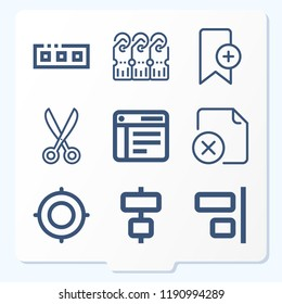 Simple set of 9 icons related to interface outline such as scissors, focus, align, bookmark, tags, toolbar, file symbols