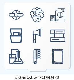 Simple set of 9 icons related to tool outline such as chemical, chemical reaction, magazine, axe, mirror, flight information, propeller, analytics symbols
