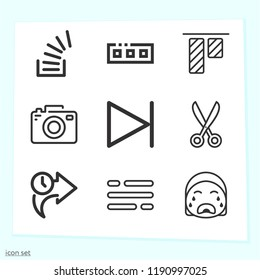 Simple set of 9 icons related to interface outline such as scissors, right arrow, next, top alignment, overflowing, digital camera, table, toolbar symbols