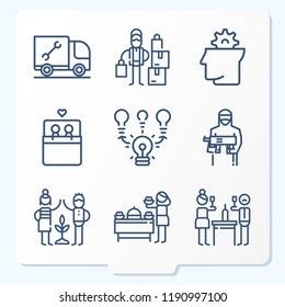 Simple set of 9 icons related to people outline such as bed, brainstorming, thinking, plumber, terrorist, salesman, founders, wine symbols
