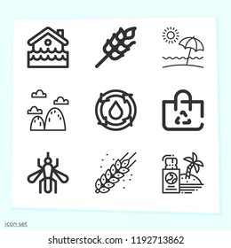 Simple set of 9 icons related to nature outline such as wheat, beach, mosquito, travel, recyclable, water, mountain symbols
