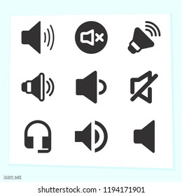 Simple set of 9 icons related to volume filled such as headset, volume, speaker symbols