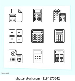 Simple set of 9 icons related to calculator outline such as calculator, maths symbols