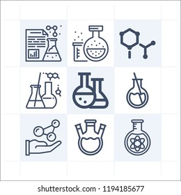Simple set of 9 icons related to chemistry outline such as lab, experiment, laboratory, flask with threee necks, round flask, atoms, chemistry, flask symbols