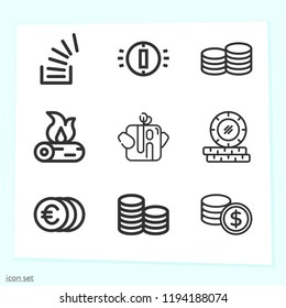 Simple set of 9 icons related to stack outline such as coins, coin, money, trunk, overflowing symbols