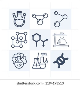 Simple set of 9 icons related to chemistry outline such as chemical, cell, flask with threee necks, flask, atoms, chemistry, structure symbols