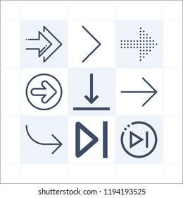 Simple set of 9 icons related to arrows outline such as next, right arrow symbols