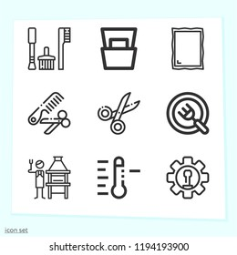 Simple set of 9 icons related to tools outline such as plate, magazine, tools, mirror, engineering, scissors, temperature symbols