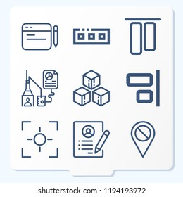 Simple set of 9 icons related to interface outline such as research, disable, align, top alignment, comment, cube, toolbar, resume symbols